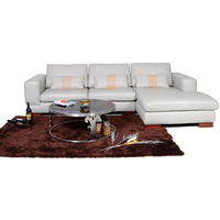 Brown Leather Wood Frame Single Recliners Cheap Corner Sofa
