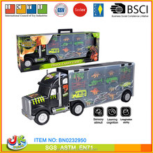 sliding truck transporter trailer toys with cars and dinosaur