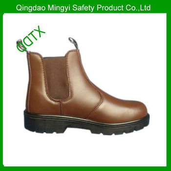 Genuine leather steel toe elastic pull on ankle safety boots