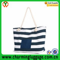 2016 hot sell strap canvas beach tote bag with rope handle