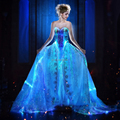 Glow in the dark LED Light up Elegant Women's fiber optic Luminous Emiting wedding Gown Ball Evening bridal Evening Firm dress