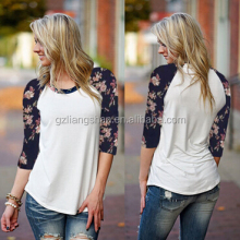 OEM Wholesale Fashion Women Ladies Long Raglan Flower Sleeve T Shirt