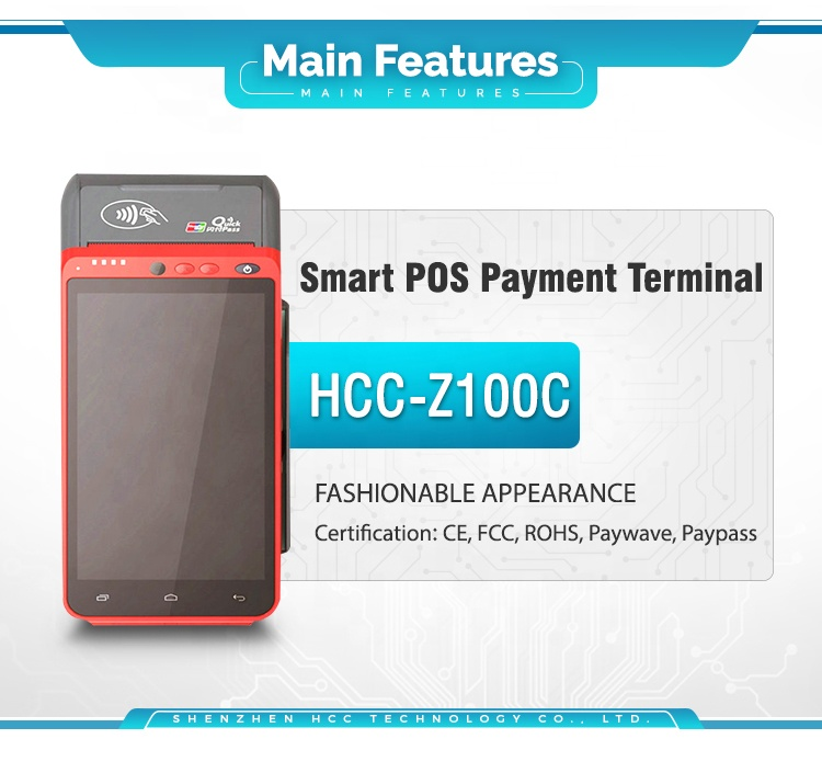 Portable GPS RFID Wifi Scanner POS Biometric Payment Terminal With Fingerprint Reader Z100