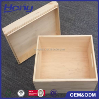 High End Polished Natural Wood Big Pine Storage Crate Gift Box with Lift-off Lid