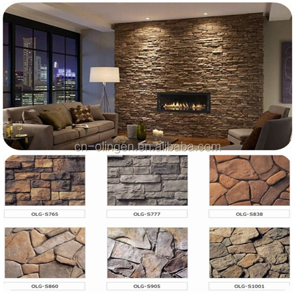 Artificial exterior and interior wall decorative stone