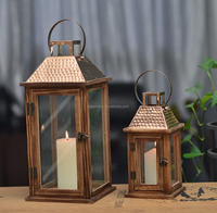 11A160-SET set2 lanterns with pine wood base, glass and copper metalic hammered on the roof
