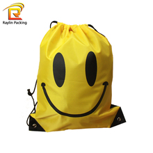 Foldable Recycled Emoji Polyester Drawstring Bag for Shopping