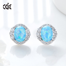 925 Silver European Style Jewelry Female Opal Earrings For Young Girls