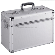 High Quality Silver Aluminium Trolley Pilot Case with 2 Combination Locks