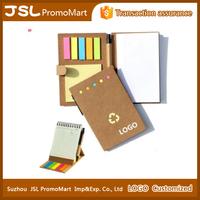 Custom logo, eco recycled notebook with pen and sticky notes