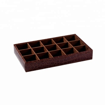 Luxury shiny croco pu wood retail jewelry display tray