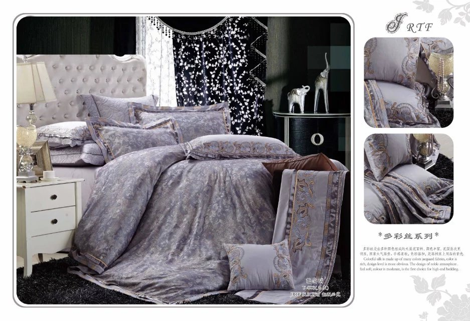 silk floss sheets luxury jacquard bedding set bed cover sets