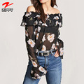 2018 Wholesale Women Off Shoulder Top Chiffon Blouse With Floral Printed