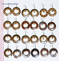 Round Circle Wooden Hoop Brown Earrings Ethnic Style Design