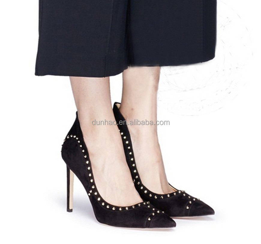 Luxury fashion black leather women pencil high heel shoes