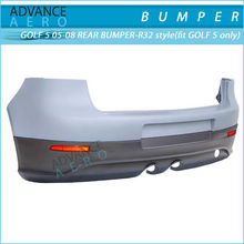 FOR 2005-2008 VOLKSWAGEN VW GOLF 5 R32 EURO STYLE PP POLYPROPYLENE REAR BUMPER WITH RED REFLECTOR AND DUAL MUFFLER OUTLET