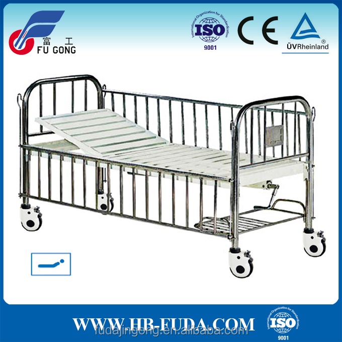 Stainless steel semi function hospital bed pediatric clinical bed baby cot