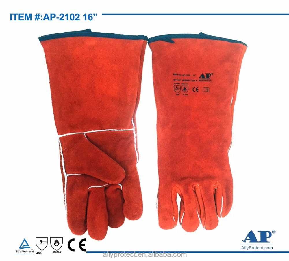 "AP-2102-16"" Russet,Light Red Standard Split Cowhide Stick Gloves with CE EN12477 for Welding"