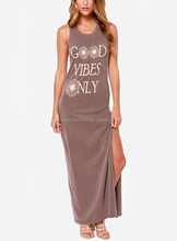 CHEFON Most fashion forward printed high slit maxi sexy long brown dress