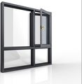 Power coating double tempered glass aluminium casement window