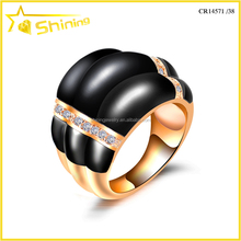 2016 new fashion aaa zirconia pave rose gold plating bulk black agate ring CR14571/38