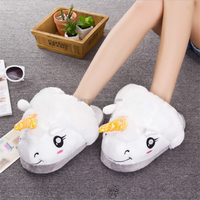 Ladies Unicorn funny cartoon winter Aries half dragged warm indoor home cotton slippers