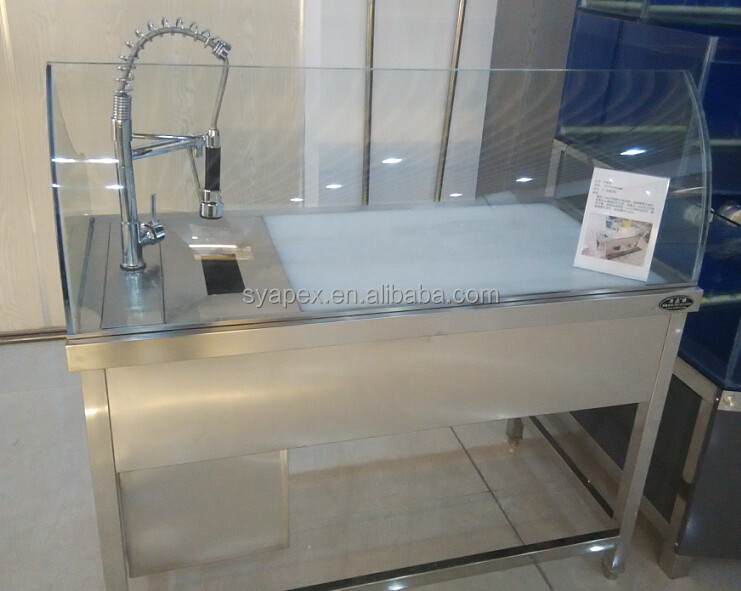 Apex Custom Make Supermarket Luxury Faucet Stainless Steel Sink Front Curve  Glass Fish Cleaning Table   Buy Countertop Work Table,Kitchen Sink Fish  Killing ...