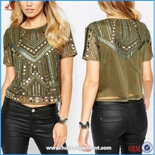 New Style Fashion Girls Khaki Rock T-shirt With Mirror Embellishment