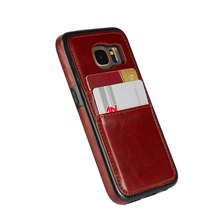 Business Luxury Back Cover with card hold slots Leather Case for Samsung galaxy s7 edge Case