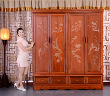 Luxury Authentic Burmese Rosewood Furniture Chinese Antique Style Hand Carved Flowers Wardrobe With 2 Doors And 4 Drawers