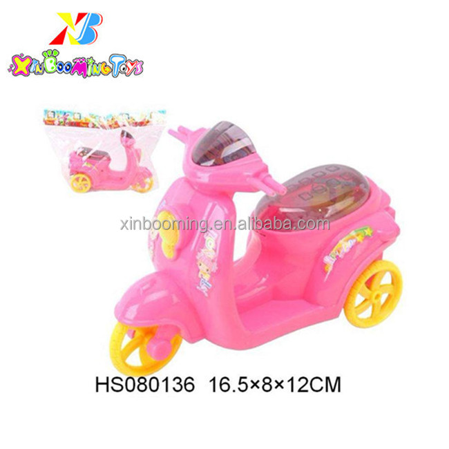 Pull line motorcycle with snowflake and light promotional toy