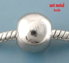 80Pcs Silver Tone Smooth Ball Acrylic Spacer Beads Fit Charm Bracelet 11x9mm