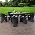 Rattan Outdoor Table Furniture Set With Glass Table Top(EMT-7210DT-1708C)