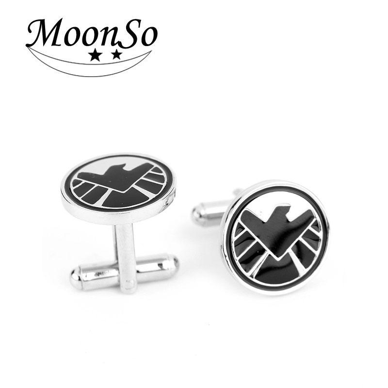 Wholesaler Fashional European American movie superman cufflink Agents of S.H.I.E.<strong>L</strong>.D. cufflinks for men Moonso KCF6679
