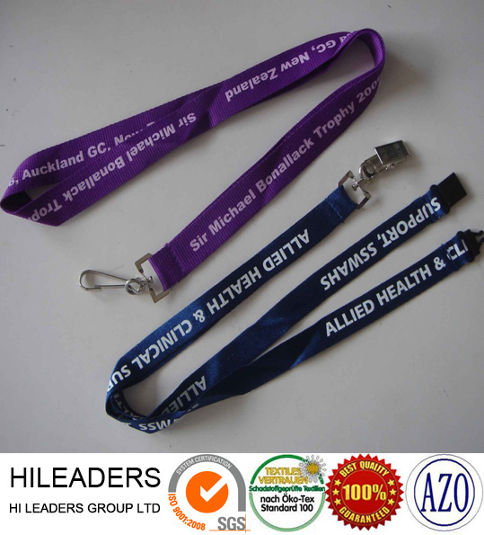 Wholesale personalized printed Satin ribbon safety clip Lanyard