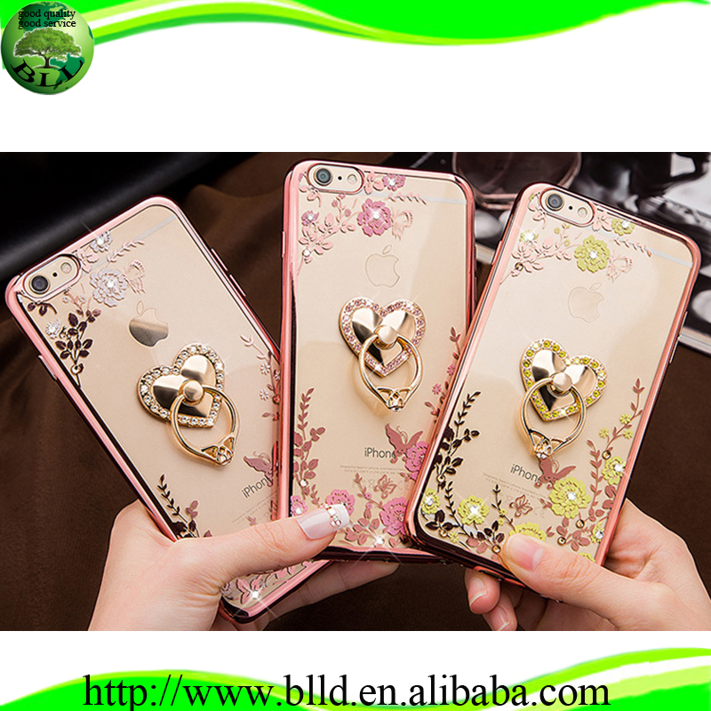Heart shaped stand electroplating TPU mobile phone accessories case for Iphone 6S