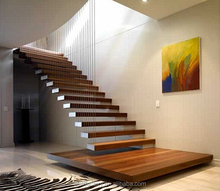 Modern Floating staircase Solid wood floating stair Indoor hidden beams floating solid wood stair TS-301
