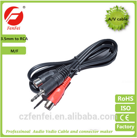 3.5mm Stereo Jack AV Cable DC Male To 2RCA Female Audio Video Cable