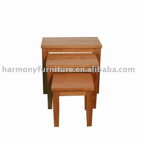 Rizhao Harmony solid oak dark color nesting table