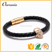 Fashion North skull Design Magnetic Genuine Leather Bracelet for Free Shipping