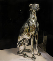 Electroplated silver resin large sitting Italian greyhound statue