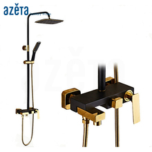 New Fashion Luxury Royal Hotel Black Gold Wall Mount Rain Bath Shower Faucet Bathroom Muslim Shower Set