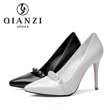 5289 Made In China black and white heels pumps shoes for women