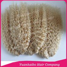 8A Best Quality! 10-30inch #613 afro kinky curly virgin brazilian remy blonde hair weaves