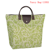 New large folding polyester tote shopping bag with pu handle for women