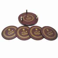 set of 4 round brown coaster set with metal pin, high quality pu leather coaster