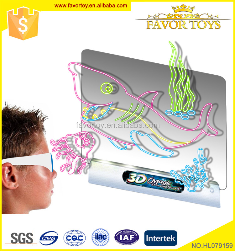 Kids erasable diy magic drawing board projector toy with 3d sunglass and 4 pens