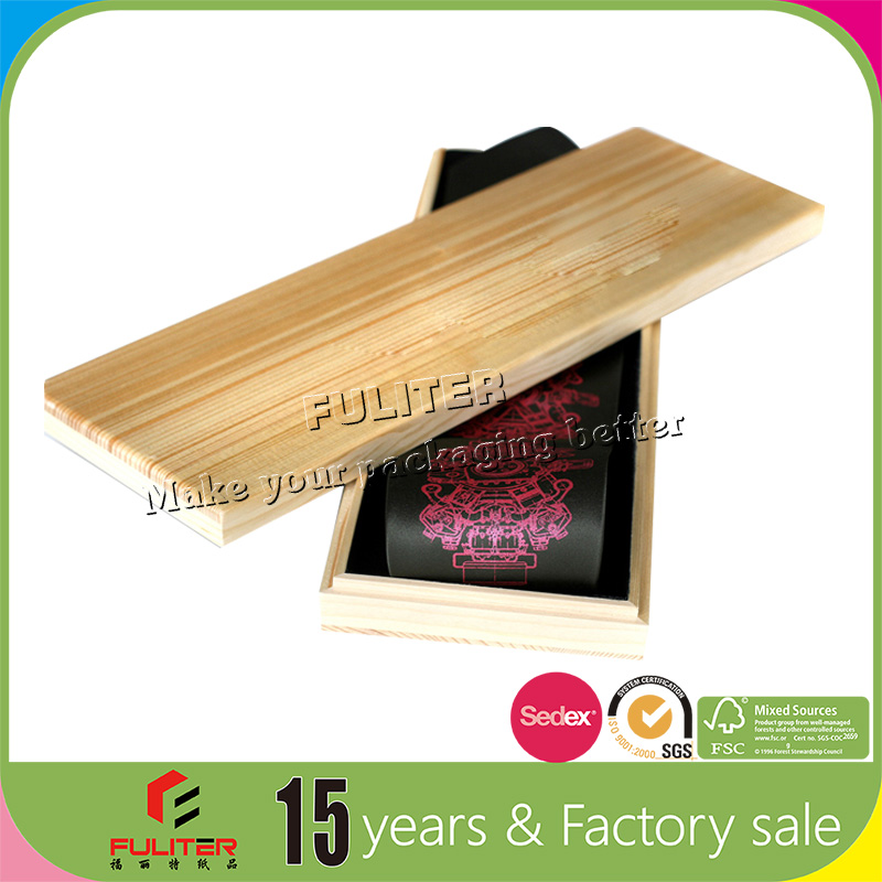 Wholesale high fashion rectangular wood tie box with lid