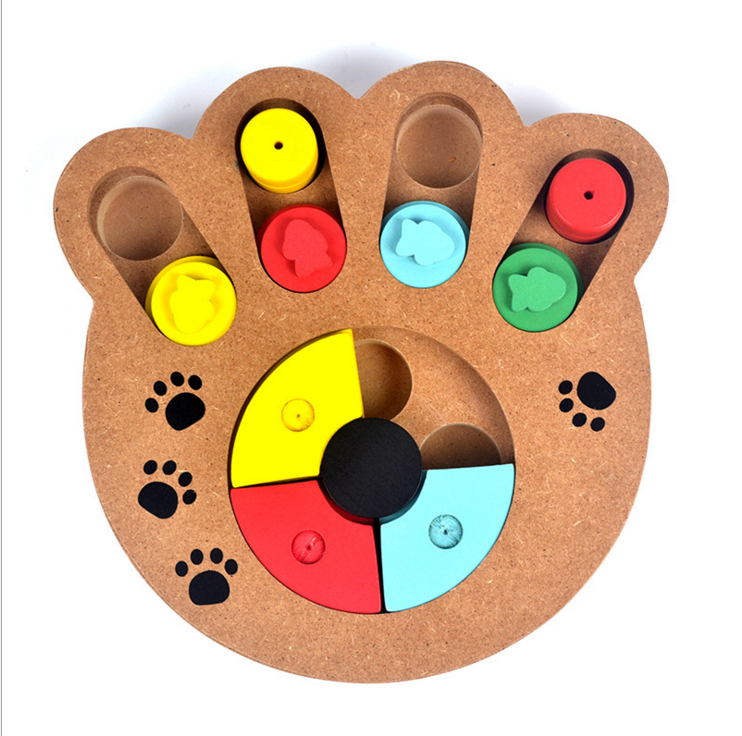 wooden pets toys paw and bone shapes dog interactive toy