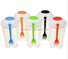 Hot Sale Plastic Salad Shaker Cup With Fork